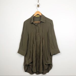 Alice + Olivia   Moss Green Button Up Blouse
